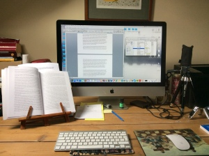 but the desk is tidy