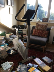 Amid book writing squalor, my bicycle, music and chair for reading - with natural light